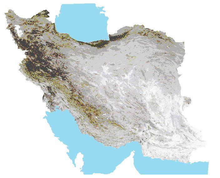 لایه بافت خاک ایران با قدرت تفکیک ۲۵۰ متر به همراه طبقه بندی گروه هیدرولوژیکی خاک