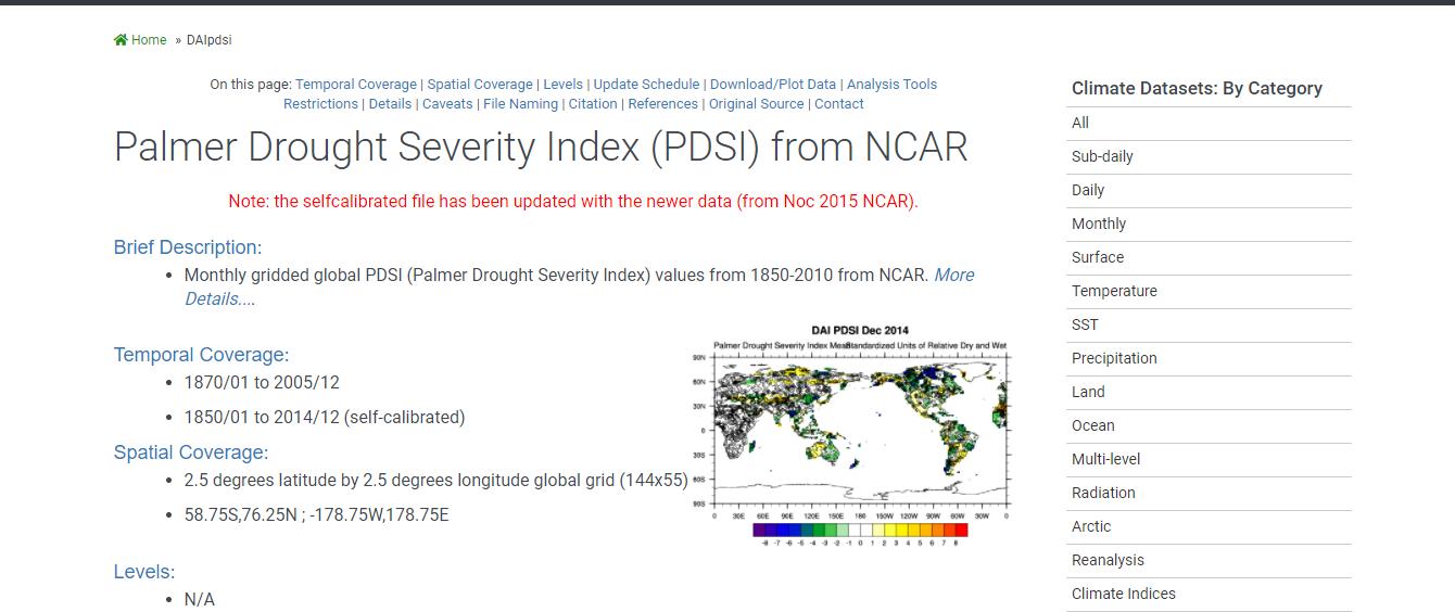 دسترسی به داده های شاخص خشکسالی پالمر