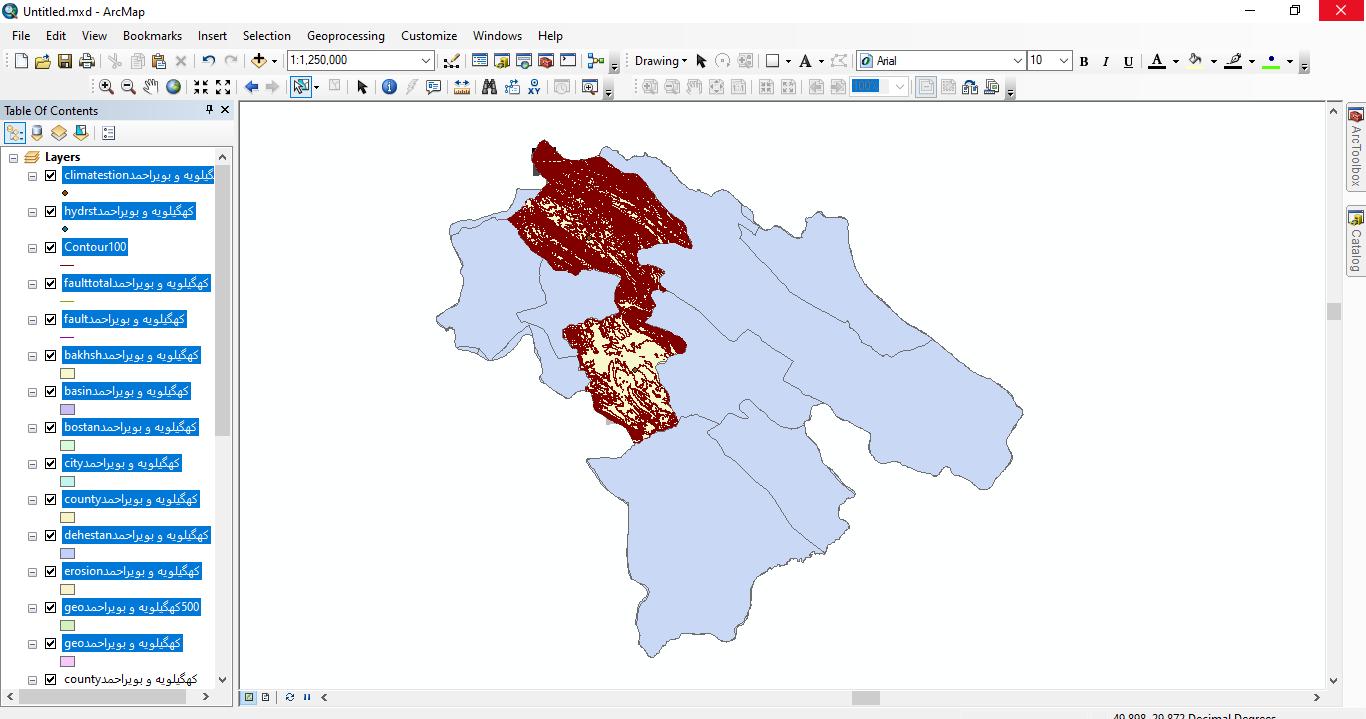 دانلود ۴۶ لایه شیپ فایل، رستری و داده های مکانی شهرستان کهگلویه