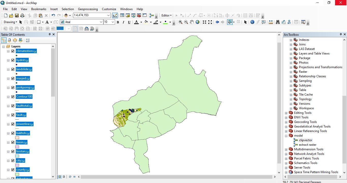 دانلود ۴۶ لایه شیپ فایل، رستری و داده های مکانی شهرستان میبد